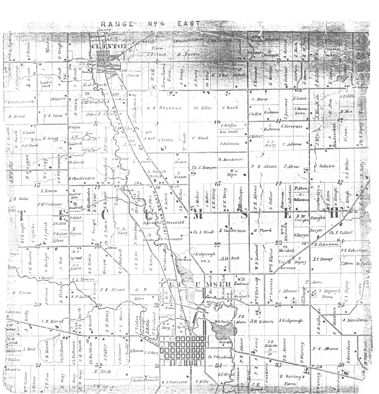 Clinton-Tecumseh Township 1857 map
